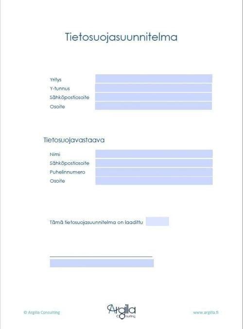 Tietosuojasuunnitelma - Työkalut pienyritykselle 3