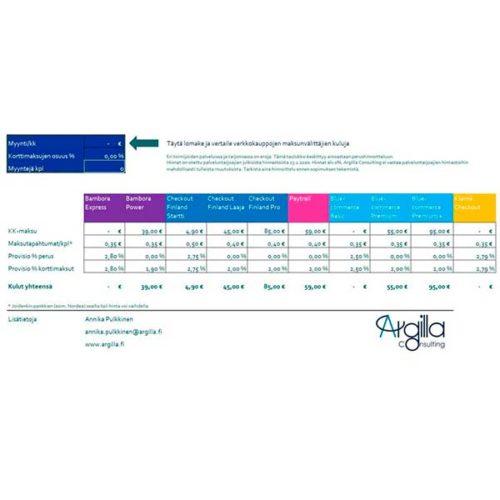 Maksunvälittäjien vertailutaulukko 1